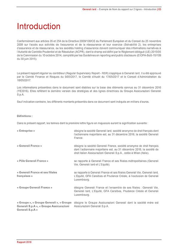 GENERALI : Modèle de rapport sous Word | Artatem, agence de communication
